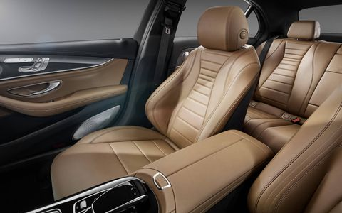 The interior of the 2017 Mercedes-Benz E-Class is stuffed with luxurious amenities but isn't as posh as the S-Class -- in a good way.