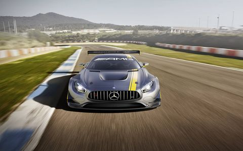 Our first clear look at the upcoming 2016 Mercedes-AMG GT3 race car, which is powered by the raw, naturally aspirated 6.3-liter V8 previously used in the SLS AMG GT3. The new car is FIA GT3 regulation-compliant, and Mercedes-AMG says it will begin deliveries to customers before the end of 2015.