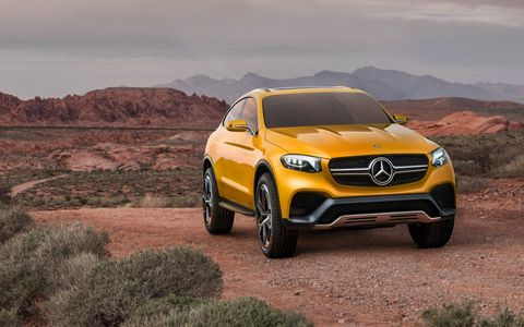 Mercedes-Benz unveiled the Concept GLC Coupe at the Shanghai motor show, previewing the latest entry to the compact luxury fastback coupe-thing market.