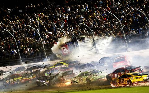 Austin Dillon, in the No. 3 Chevy, crashed hard at Daytona International Speedway early Monday morning following a lengthy rain delay in the Coke Zero 400 NASCAR Sprint Cup Series Race.