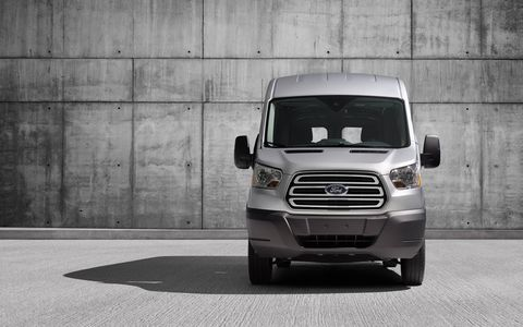 This Transit is surprisingly easy to drive. It has easy steering and predictable brakes, and those trailer mirrors really give you a good view of the road, and of the back tires in tight spaces.