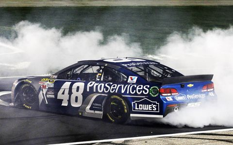 Jimmie Johnson passed Kevin Harvick late and held on to the lead for his second NASCAR Sprint Cup Series victory of the 2015 season.