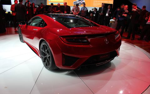 Compared to the 2013 concept, the 2016 Acura NSX production car is 1 inch wider to accommodate the longitudinal engine setup.