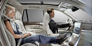 The XC90 SUV front passenger seat has been replaced by a transformable footrest that also features a table and a monitor, among other items.