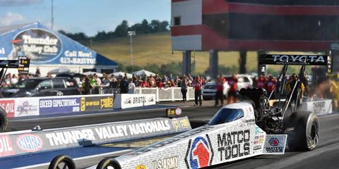 Antron Brown won the Top Fuel division in Illinois Sunday in NHRA action.