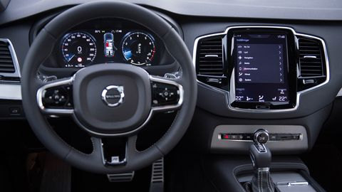 The 2019 Volvo XC90's interior is dominated by the huge central touchscreen.