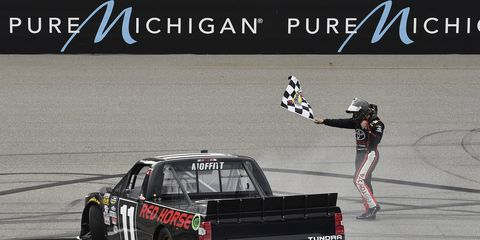 Brett Moffitt won Saturday's NASCAR truck race at Michigan.