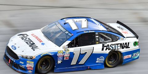 Ricky Stenhouse Jr. races at Bristol with Bryan Clauson's name over the driver's side window opening.