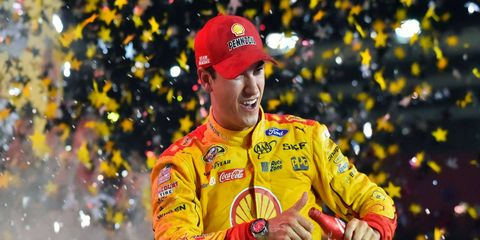 Joey Logano celebrates his first career Sprint All-Star Race victory late Saturday night at Charlotte Motor Speedway.