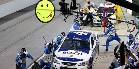 Kevin Harvick was not smiling about the performance of his pit crew at Darlington on Sunday night.