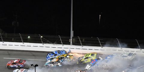 Carnage ensued halfway through Saturday's Coke Zero 400 when a crash took out a large portion of the field.