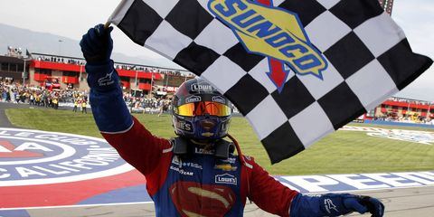 Jimmie Johnson won his 77th NASCAR Sprint Cup race on Sunday at Auto Club Speedway. It's just another jewel in an already illustrious career.
