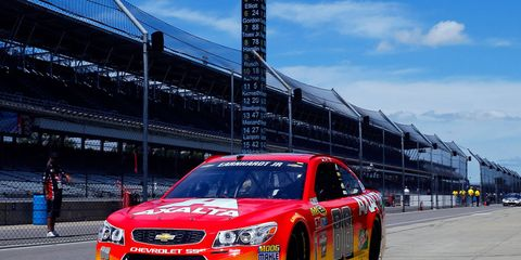 Jeff Gordon takes Dale Earnhardt Jr.'s No. 88 Hendrick Motorsports Chevy out for a practice run on Friday at the Indianapolis Motor Speedway.