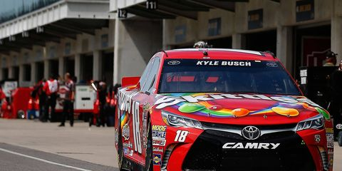 Kyle Busch was quickest in qualifying at the Brickyard on Saturday ahead of Sunday's NASCAR Sprint Cup Series race.