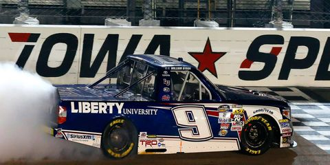 NASCAR Camping World Truck Series driver William Byron is just 11 points from the series lead after his win Saturday night at Iowa Speedway.