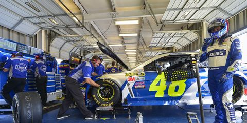 Jimmie Johnson wrecked his car Friday during NASCAR Sprint Cup practice for Saturday's race at Kentucky.