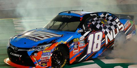 Kyle Busch scored one for the home team in Kentucky on Friday night. The Toyota Camry is built in nearby Georgetown, KY.