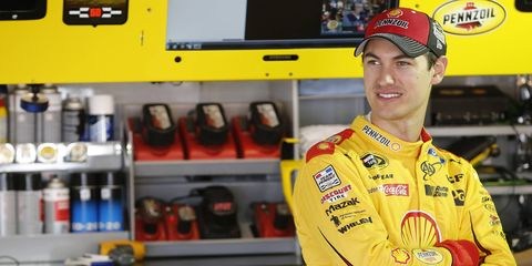 Joey Logano will start on the front row at Martinsville for a fifth straight time on Sunday.