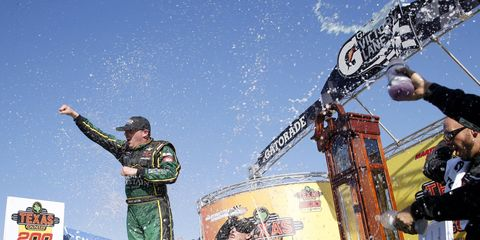 Johnny Sauter advanced to the NASCAR Truck Series Championship Race by winning at Martinsville on Saturday