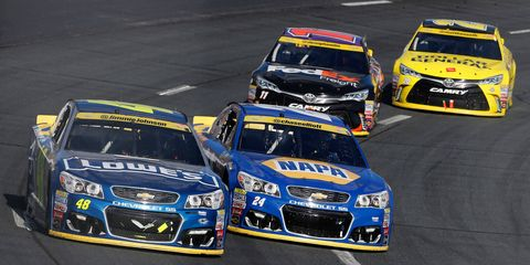 Jimmie Johnson (48) has already qualified for the Round of 8 in the NASCAR Chase. Teammate Chase Elliott (24) still has some work to do to advance to the next round.