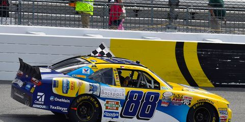 Dale Earnhardt Jr. avoided a huge crash to win at Richmond, Virginia, on Saturday.
