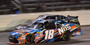 Kyle Busch (18) is going for his fifth win of the NASCAR Xfinity Series season Saturday night at Bristol.
