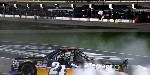 Johnny Sauter celebrates his victory at Texas Motor Speedway