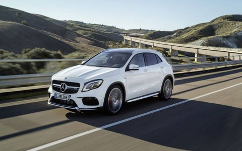 The 2.0-liter engine in the GLA45 produces 375 hp and propels the Mercedes to 60 in 4.3 seconds.