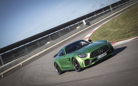 The Mercedes AMG GT R supercar in the aptly named hue Green Hell