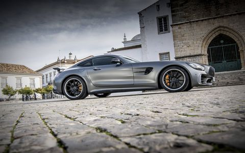 The Mercedes AMG GT R supercar in Selenite Gray Magno