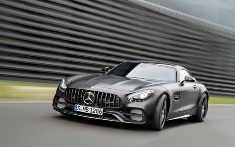 With wider rear fenders and a rear-wheel steering system pulled from the AMG GT R, the newly revealed 2018 Mercedes AMG GT C Coupe gets most of the range-topper's performance goodies with a slightly more civilized power output. The limited-production Edition 50 Coupe is shown here.
