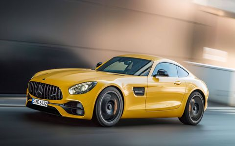 The 2018 Mercedes-AMG lineup gets the so-called Panamericana grille, a few performance-enhancing extras pulled from the range-topping GT R and a little more power to go around. The 2018 GT S is shown here.