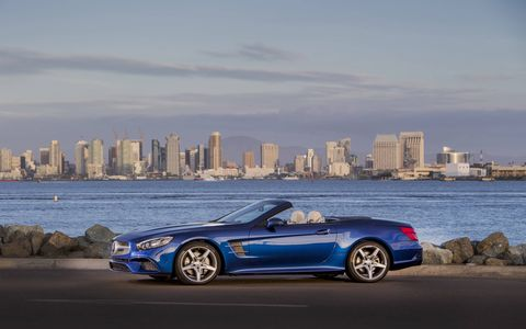 A photo gallery for the 2017 Mercedes-Benz SL roadster.