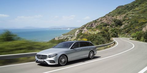 The 2017 E400 4Matic Wagon arrives here next spring, powered by Benz's 3.0-liter twin-turbo V6 producing 329 hp and 354 lb-ft of torque.