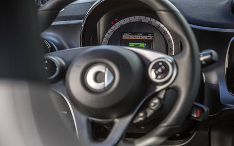The Smart Fortwo Electric Drive's interior is similar to the standard Fortwo.