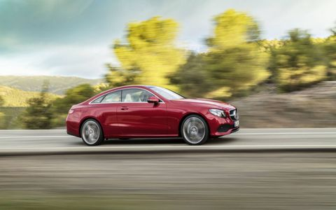 The 329 hp twin-turbo V6 gets the Mercedes E400 Coupe to 60 mph in 5.5 seconds