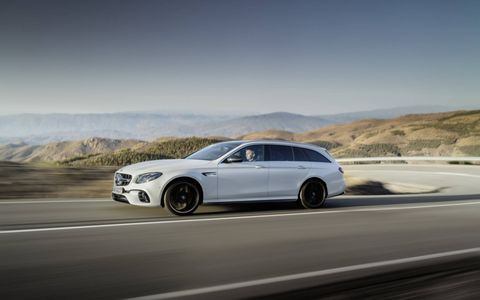 The new 2018 AMG E63 S wagon gets 603 hp from a twin-turbocharged 4-liter V8 engine and standard 4Matic all-wheel drive. Yes, there's a drift mode.