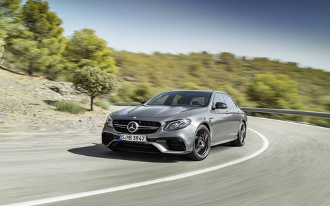 The 2018 Mercedes-AMG E63 S sedan, which will arrive in the United States next year, comes equipped with a twin-turbocharged 4.0-liter V8 producing 603 hp.