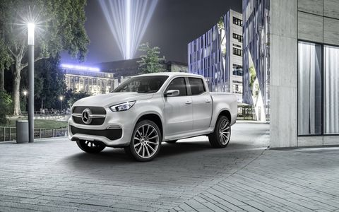 The Mercedes-Benz X-Class pickup concepts show both sides of a Merc pickup.