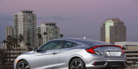 The 2016 Honda Civic Touring is shown above, but is visual similar to the Honda Civic EX.
