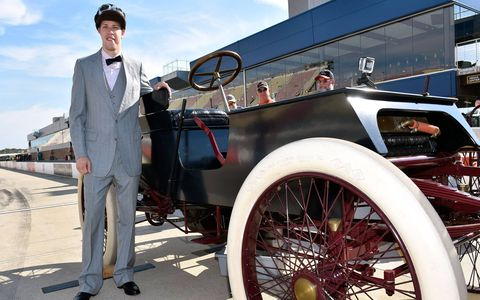 Brad Keselowski and NBCSN personality Kelli Stavast toured MIS in a replica of the 1901 Sweepstakes car driven by Henry Ford to a win in the first recorded auto race.