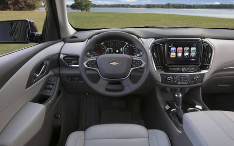 The 2018 Chevy Traverse SUV comes with USB ports in every row, more than 20 cubbies for storage, sliding and folding second-row seats and plenty of cameras for maneuvering in tight spaces.