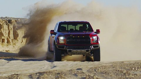 The 2018 Ford F-150 Raptor comes with a twin-turbo EcoBoost V6 making 450 hp and 510 lb-ft of torque.