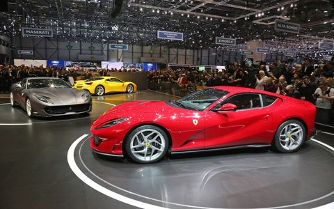 "The new mid-front-mounted 6.5-liter develops 788 hp and 530 lb-ft, 80 percent of which is available at 3,500 rpm. What's that mean? It means the Superfast is, you guessed it, super-fast: 62 mph arrives in just 2.9 seconds, according to Ferrari, which adds the top speed is ""over 211 mph."""