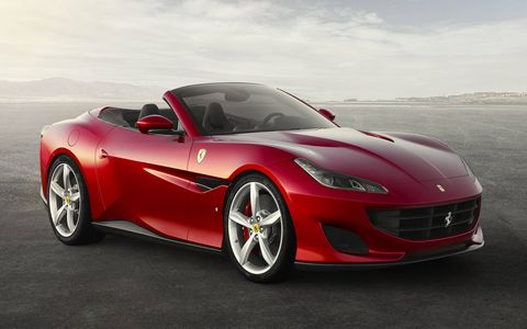 The Ferrari Portofino rockets to 62 mph in just 3.5 seconds thanks to a twin-turbo V8 engine that makes 592 hp and 561 lb-ft of torque.