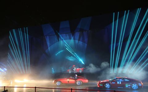 Part of last weekend's 70th birthday party in Fiorano included a floor show of sorts depicting all 70 years of Ferrari. There lasers, lights and a big disco ball. Yes, they made Ferraris in the 1970s.