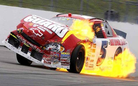 Landon Cassill wrecks on fire