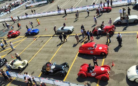 There's a rally element to today's Mille Miglia, but it's also a giant rolling car show.