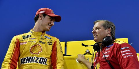 Joey Logano and Todd Gordon inadvertently cost teammate Brad Keselowski the lead on Sunday at Martinsville Speedway.