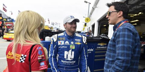 Dale Earnhardt Jr. hangs out with Graham Rahal and Courtney Force prior to the Daytona 500 in February.